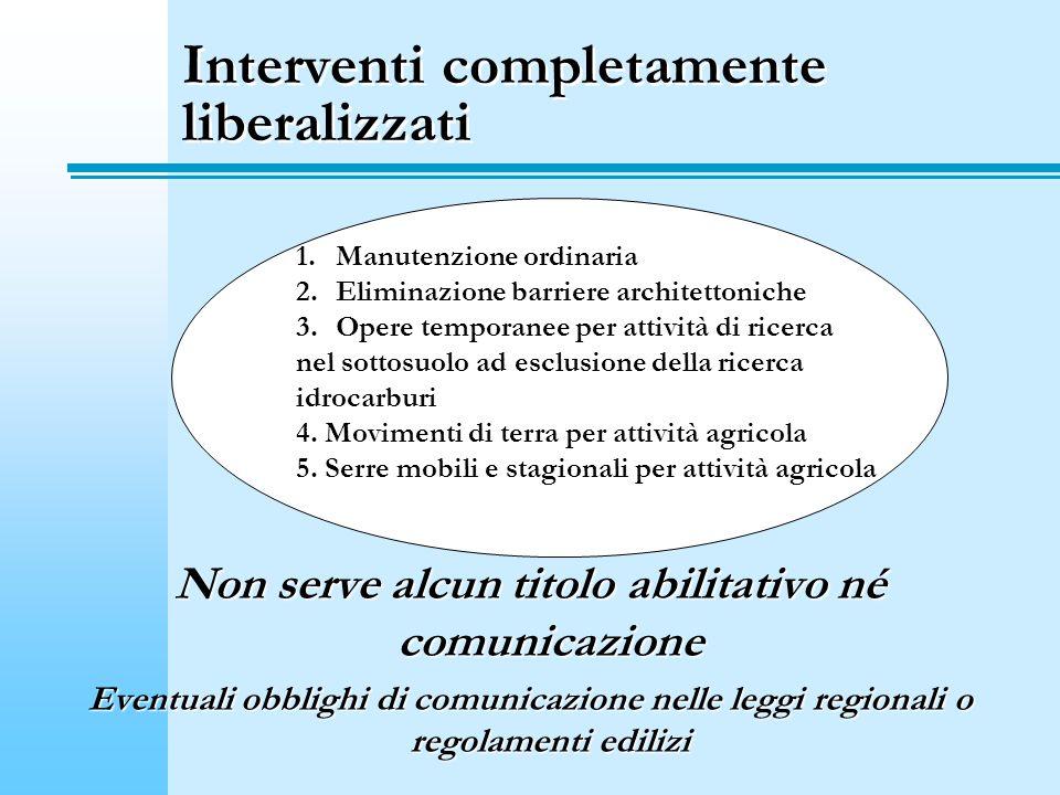 Interventi completamente liberalizzati Non serve alcun titolo abilitativo né comunicazione Eventuali obblighi di comunicazione nelle leggi regionali o