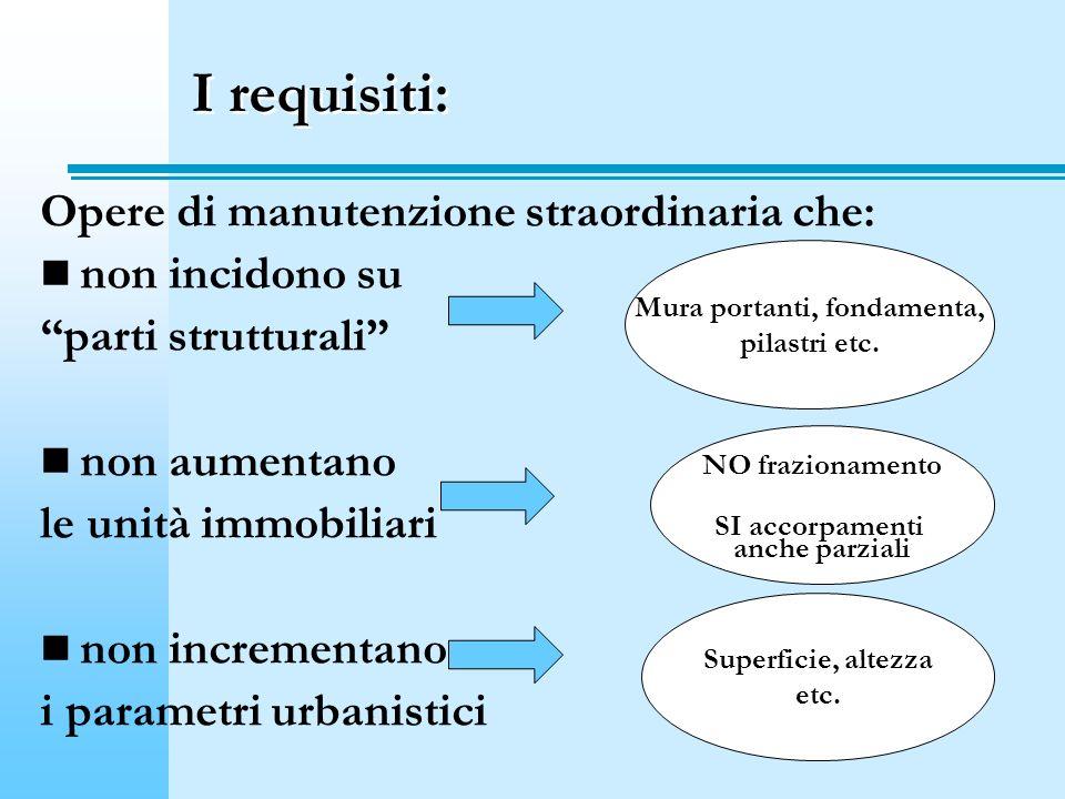 I requisiti: Opere di manutenzione straordinaria che: non incidono su parti strutturali non aumentano le unità immobiliari non incrementano i parametr