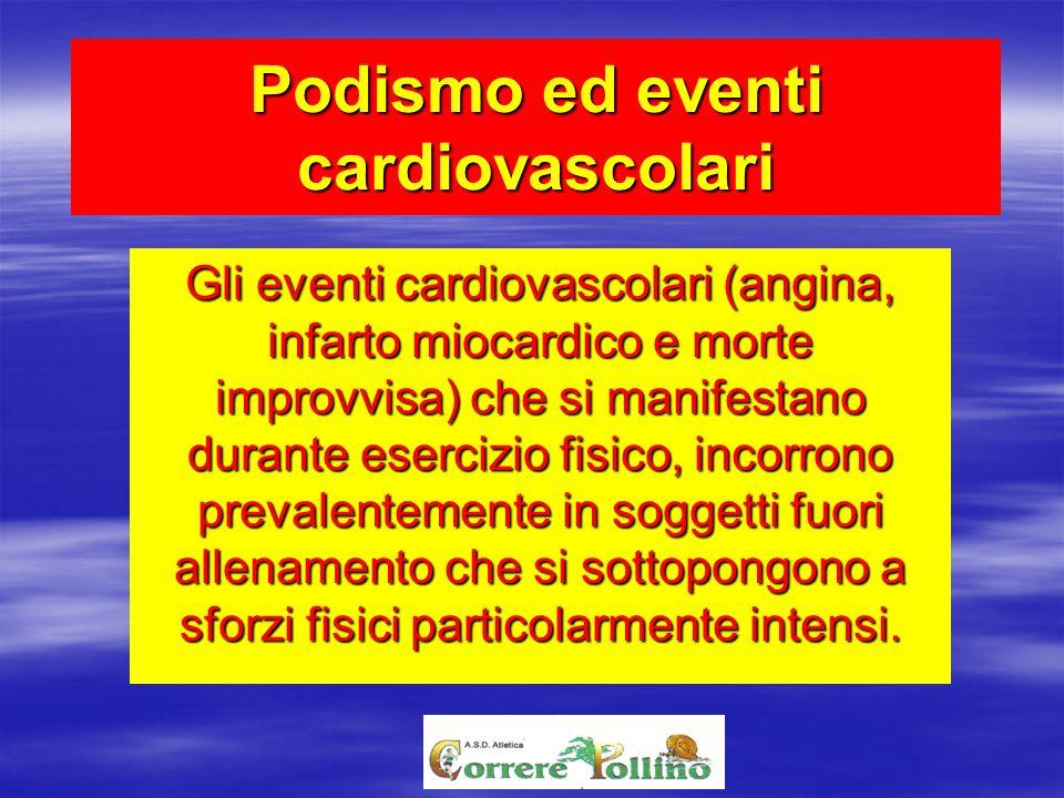 Podismo ed eventi cardiovascolari Gli eventi cardiovascolari (angina, infarto miocardico e morte improvvisa) che si manifestano durante esercizio fisi