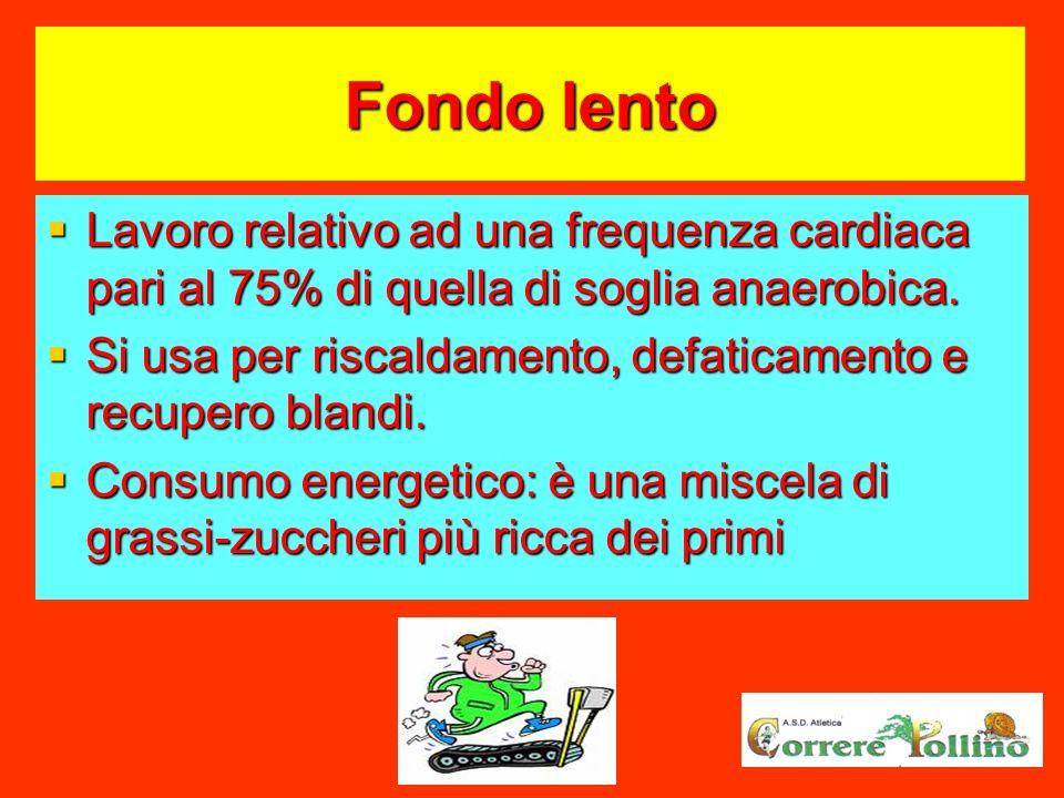 Fondo lento Lavoro relativo ad una frequenza cardiaca pari al 75% di quella di soglia anaerobica. Lavoro relativo ad una frequenza cardiaca pari al 75