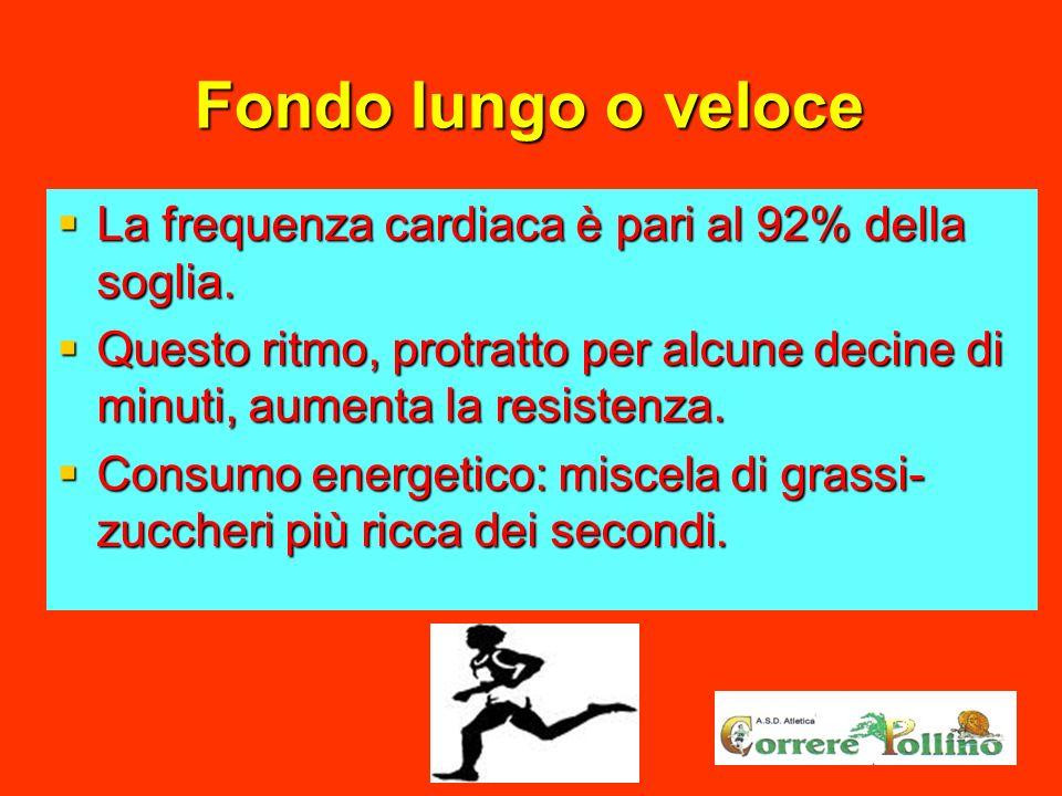 Fondo lungo o veloce La frequenza cardiaca è pari al 92% della soglia. La frequenza cardiaca è pari al 92% della soglia. Questo ritmo, protratto per a