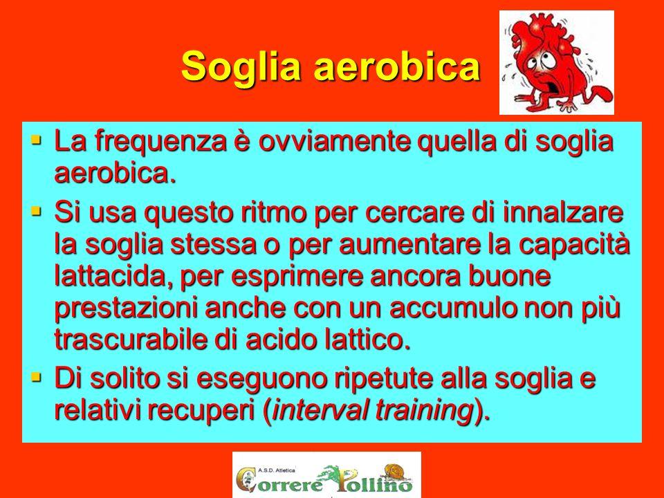 Soglia aerobica La frequenza è ovviamente quella di soglia aerobica. La frequenza è ovviamente quella di soglia aerobica. Si usa questo ritmo per cerc