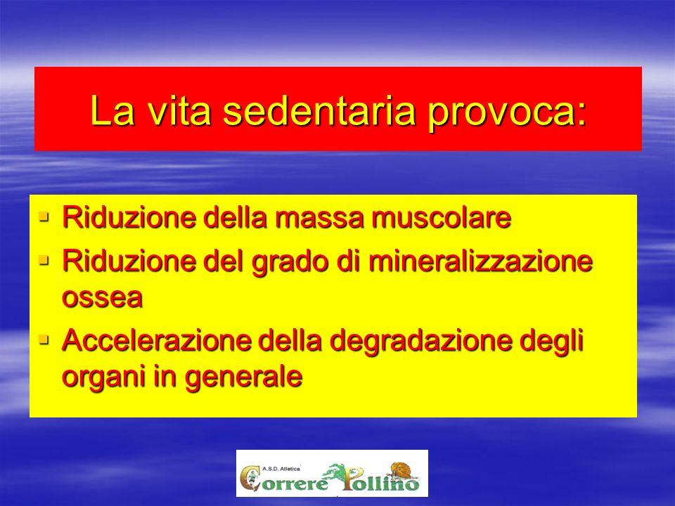La vita sedentaria provoca: Riduzione della massa muscolare Riduzione della massa muscolare Riduzione del grado di mineralizzazione ossea Riduzione de