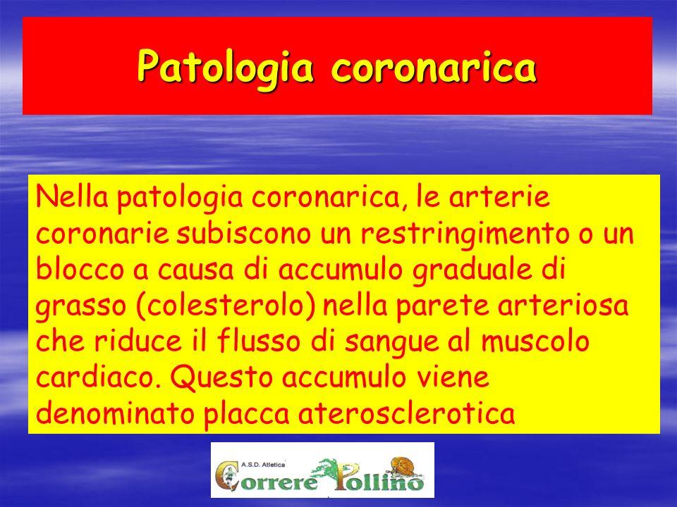 Patologia coronarica Nella patologia coronarica, le arterie coronarie subiscono un restringimento o un blocco a causa di accumulo graduale di grasso (