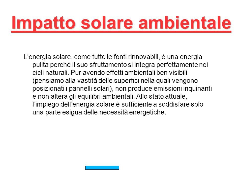 Impatto solare ambientale Lenergia solare, come tutte le fonti rinnovabili, è una energia pulita perché il suo sfruttamento si integra perfettamente nei cicli naturali.