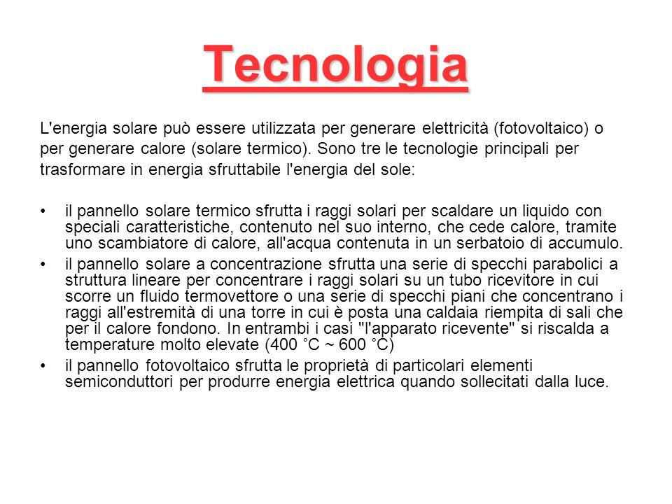 Tecnologia L energia solare può essere utilizzata per generare elettricità (fotovoltaico) o per generare calore (solare termico).