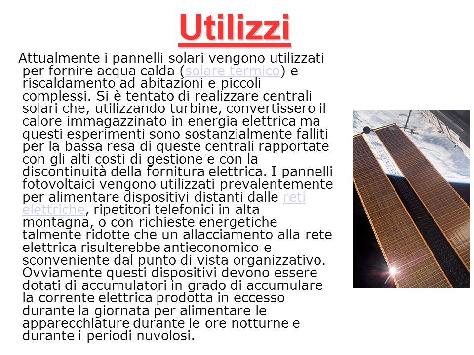 Utilizzi Attualmente i pannelli solari vengono utilizzati per fornire acqua calda (solare termico) e riscaldamento ad abitazioni e piccoli complessi.