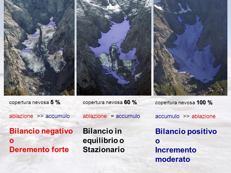 5 % copertura nevosa 5 % ablazione >> accumulo Bilancio negativo o Deremento forte 60 % copertura nevosa 60 % ablazione = accumulo Bilancio in equilib