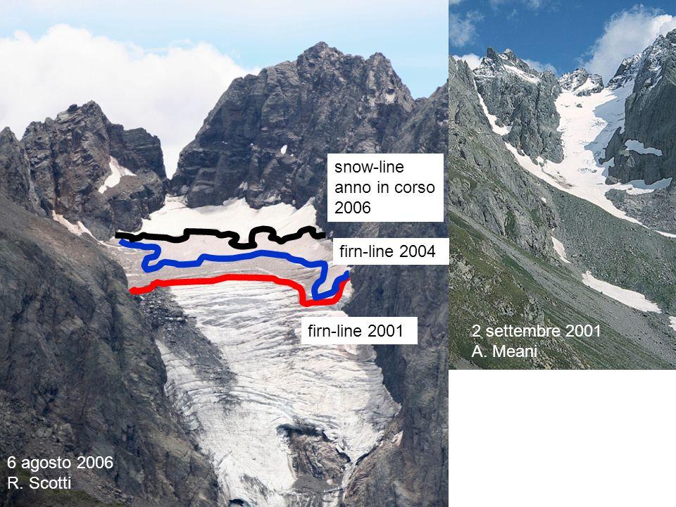 28 agosto 2007 P. Pagliardi firn-line 2001 firn-line 2004 snow-line anno in corso 2006 6 agosto 2006 R. Scotti 2 settembre 2001 A. Meani