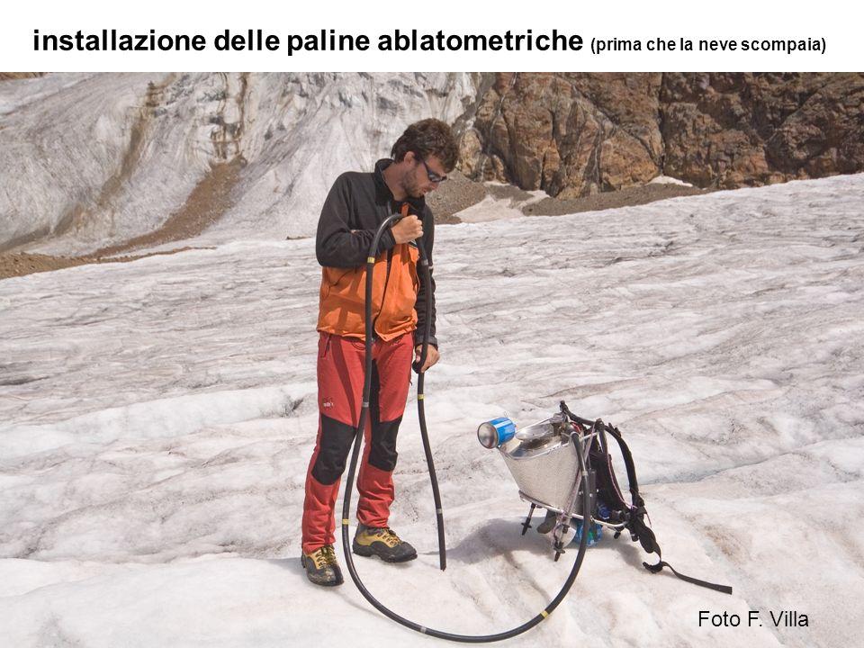 installazione delle paline ablatometriche (prima che la neve scompaia) Foto F. Villa