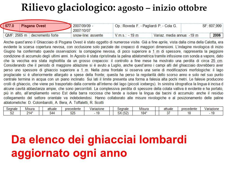 Rilievo glaciologico Variazioni lineari della fronte glaciale Bindella metrica o GPS