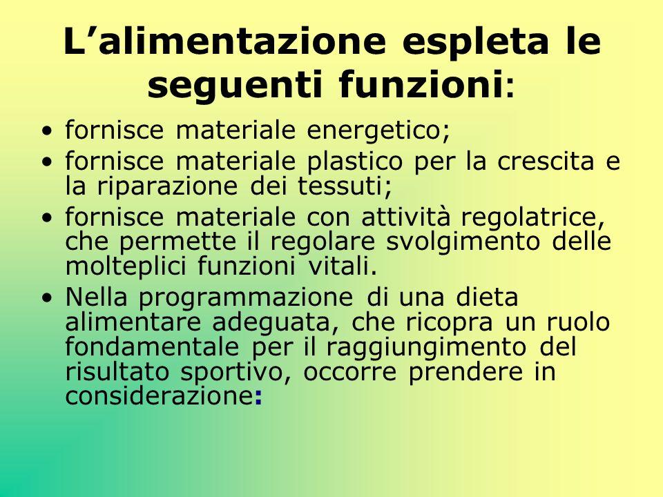 Lalimentazione espleta le seguenti funzioni : fornisce materiale energetico; fornisce materiale plastico per la crescita e la riparazione dei tessuti;