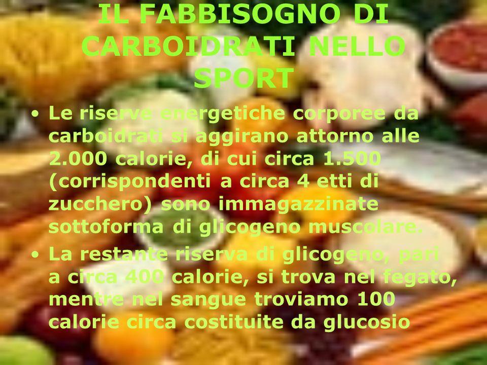 IL FABBISOGNO DI CARBOIDRATI NELLO SPORT Le riserve energetiche corporee da carboidrati si aggirano attorno alle 2.000 calorie, di cui circa 1.500 (co