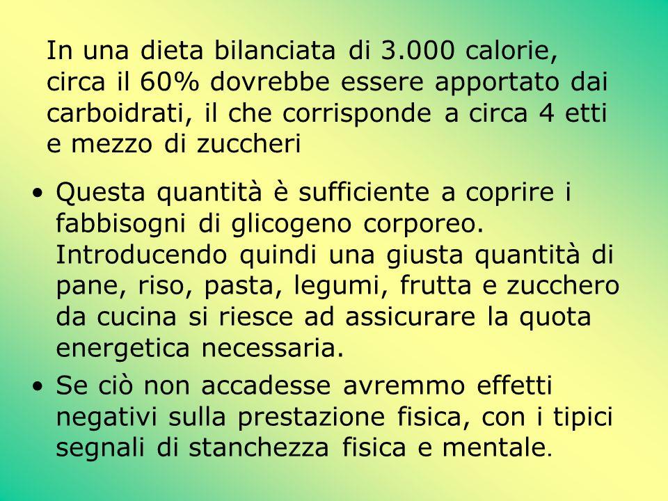 In una dieta bilanciata di 3.000 calorie, circa il 60% dovrebbe essere apportato dai carboidrati, il che corrisponde a circa 4 etti e mezzo di zuccher