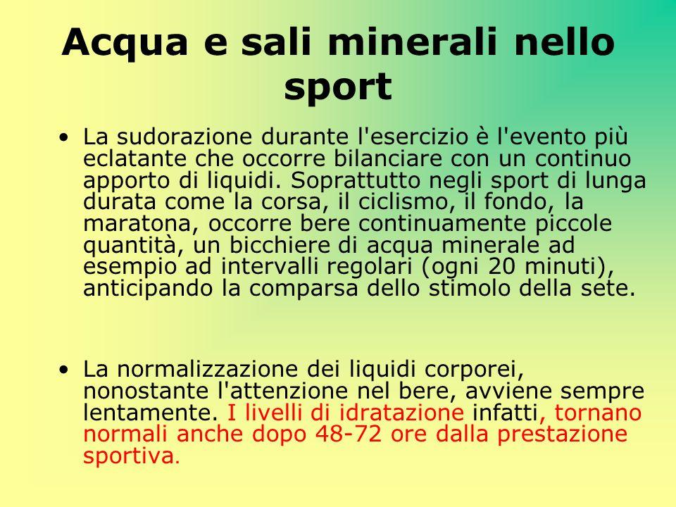 Acqua e sali minerali nello sport La sudorazione durante l'esercizio è l'evento più eclatante che occorre bilanciare con un continuo apporto di liquid