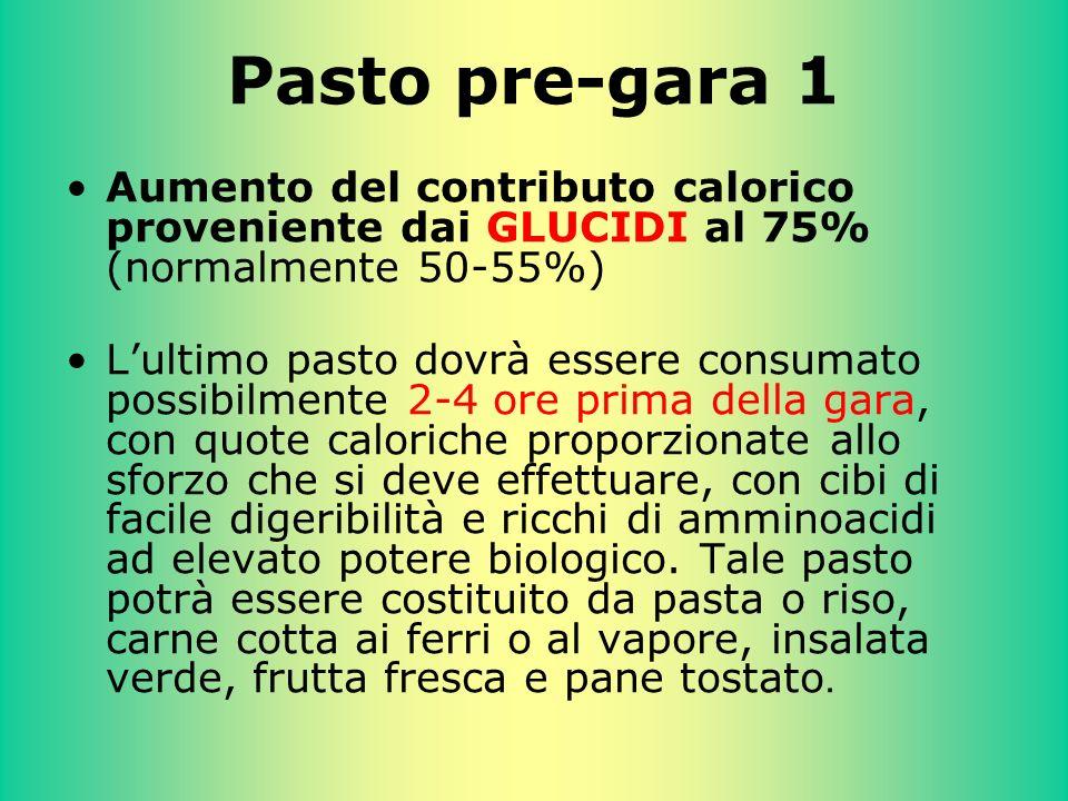 Pasto pre-gara 1 Aumento del contributo calorico proveniente dai GLUCIDI al 75% (normalmente 50-55%) Lultimo pasto dovrà essere consumato possibilment