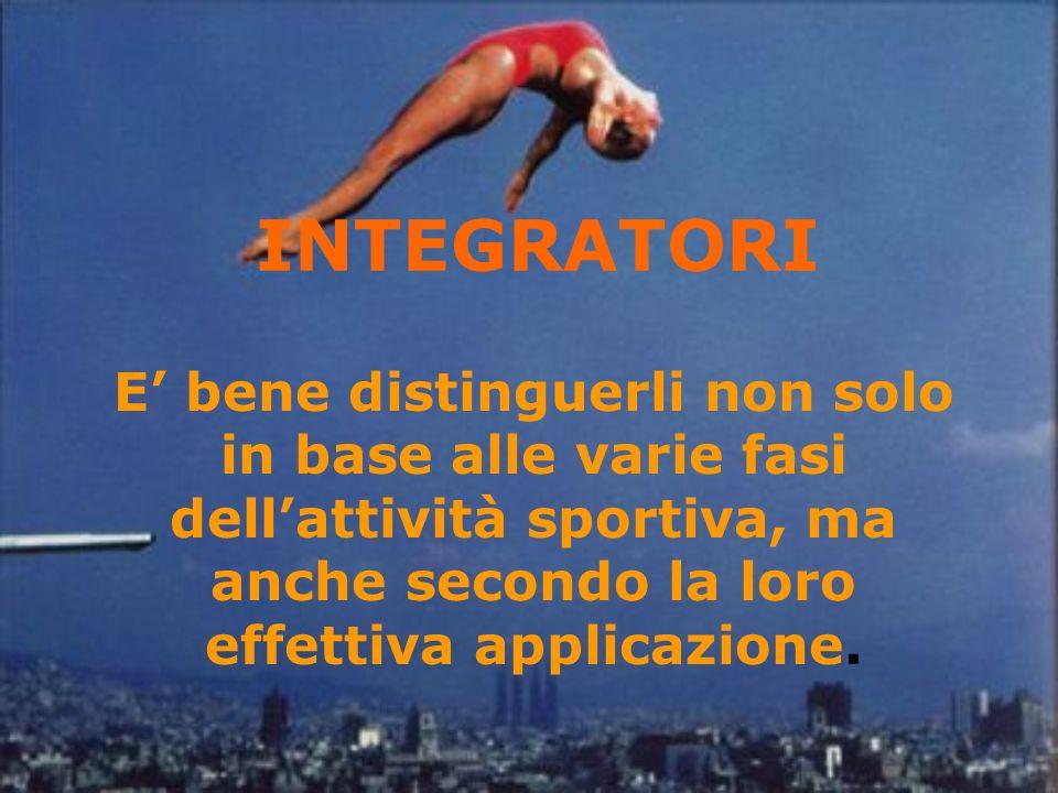 INTEGRATORI E bene distinguerli non solo in base alle varie fasi dellattività sportiva, ma anche secondo la loro effettiva applicazione.