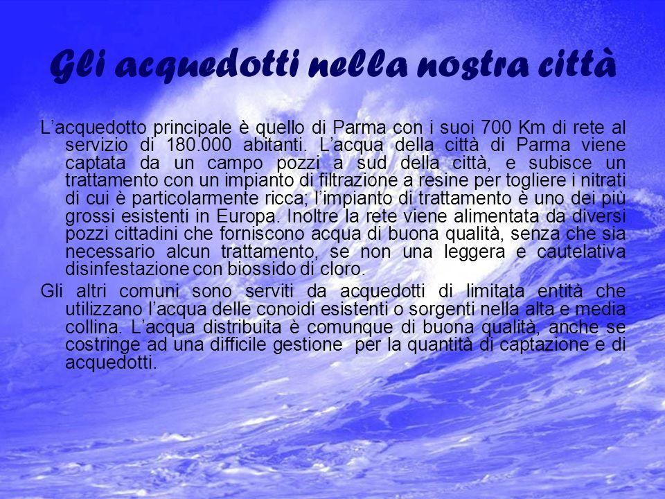 Gli acquedotti nella nostra città Lacquedotto principale è quello di Parma con i suoi 700 Km di rete al servizio di 180.000 abitanti.