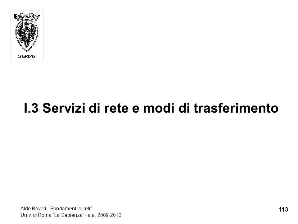 I.3 Servizi di rete e modi di trasferimento 113 Aldo Roveri, Fondamenti di reti Univ.