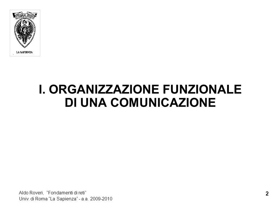 I. ORGANIZZAZIONE FUNZIONALE DI UNA COMUNICAZIONE 2 Aldo Roveri, Fondamenti di reti Univ.
