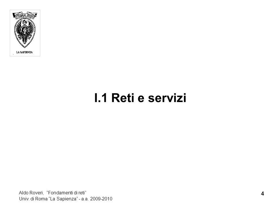I.1 Reti e servizi 4 Aldo Roveri, Fondamenti di reti Univ. di Roma La Sapienza - a.a. 2009-2010