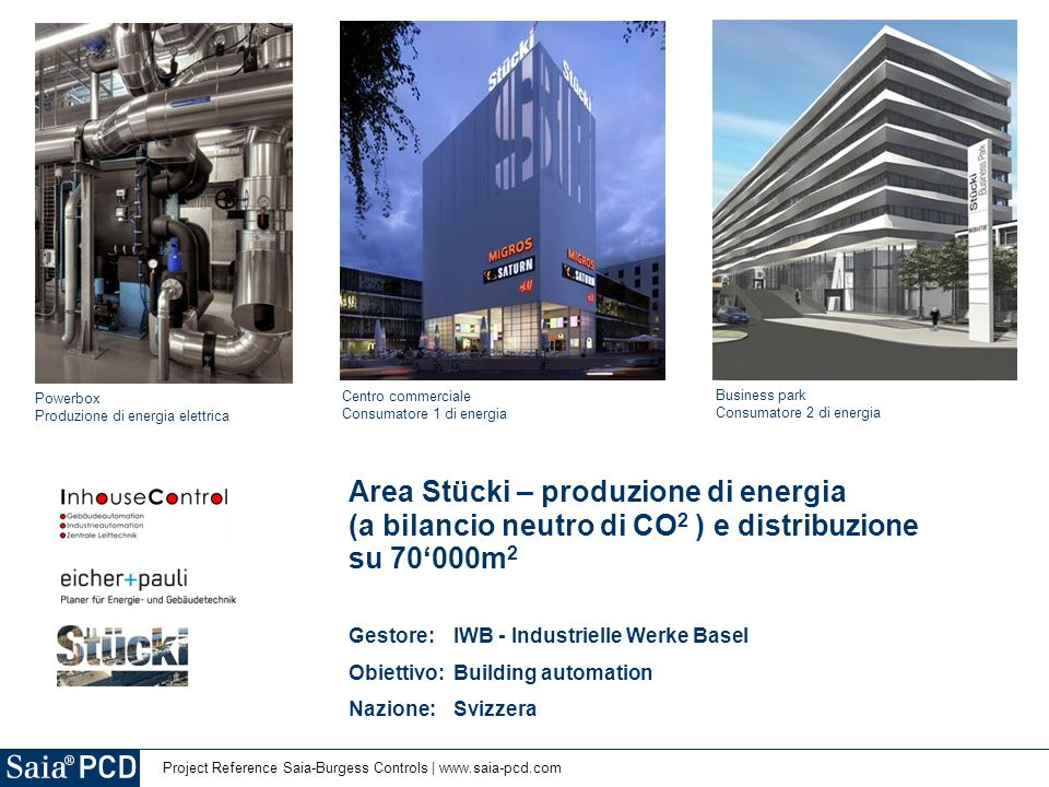 2 | Project Reference Saia-Burgess Controls | www.saia-pcd.com Presentazione del progetto Stücki – Powerbox – Energia a CO 2 neutra Abstract Il sistema produce energia dal (quasi) calore di scarto prodotto dai fanghi e dai rifiuti.