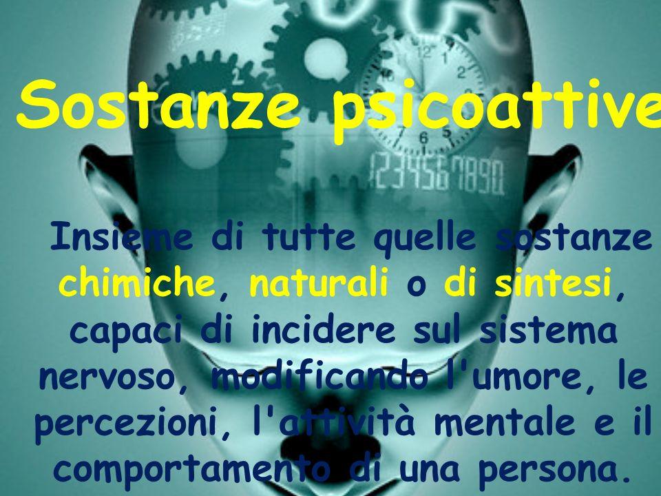 Sostanze psicoattive Insieme di tutte quelle sostanze chimiche, naturali o di sintesi, capaci di incidere sul sistema nervoso, modificando l'umore, le