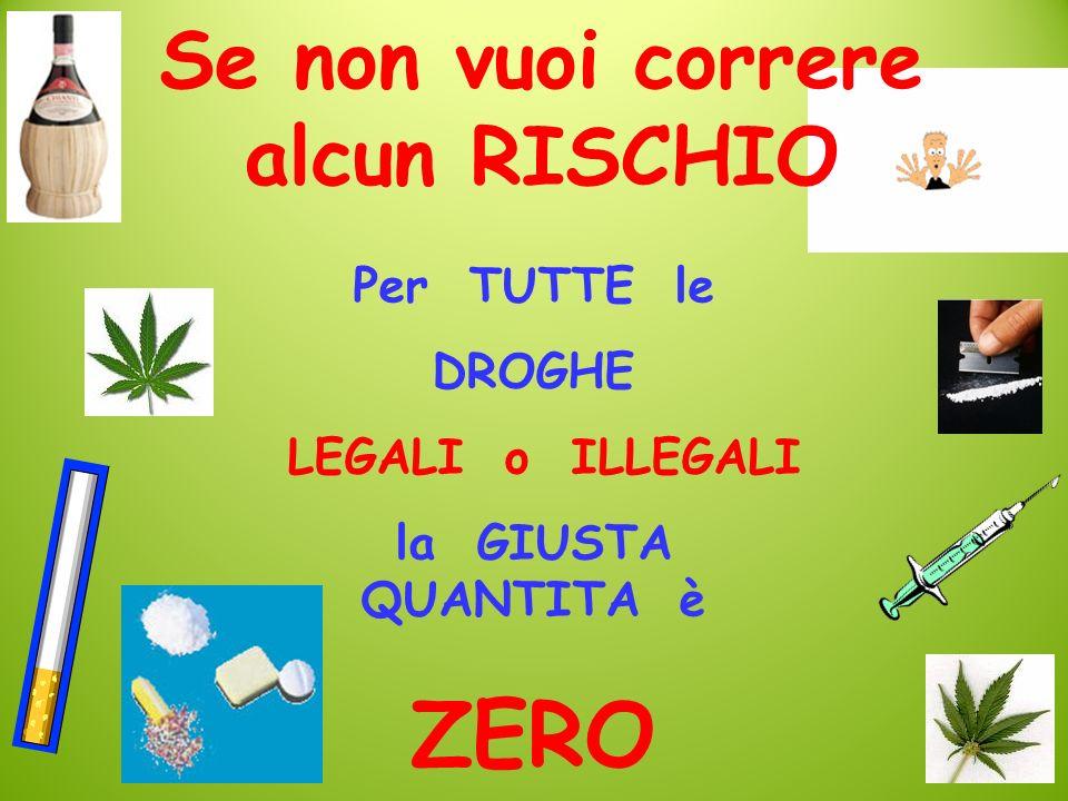 Se non vuoi correre alcun RISCHIO Per TUTTE le DROGHE LEGALI o ILLEGALI la GIUSTA QUANTITA è ZERO