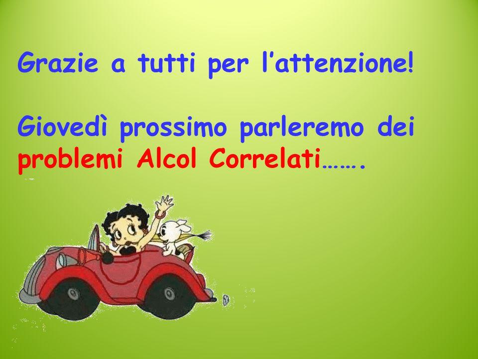 Grazie a tutti per lattenzione! Giovedì prossimo parleremo dei problemi Alcol Correlati…….
