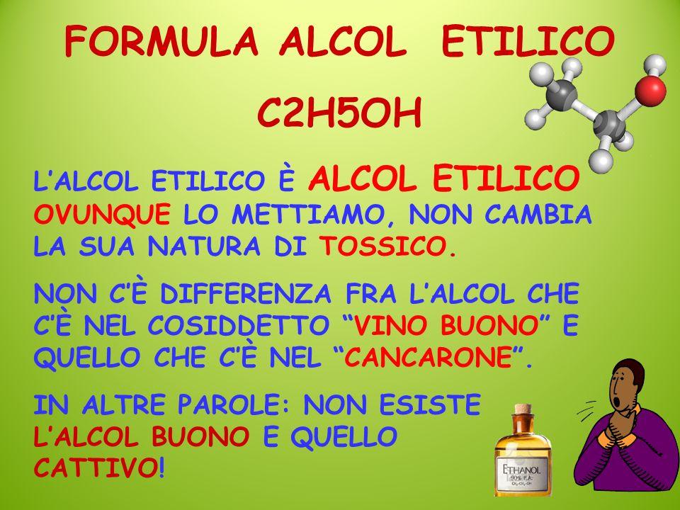 LALCOL ETILICO È ALCOL ETILICO OVUNQUE LO METTIAMO, NON CAMBIA LA SUA NATURA DI TOSSICO. NON CÈ DIFFERENZA FRA LALCOL CHE CÈ NEL COSIDDETTO VINO BUONO