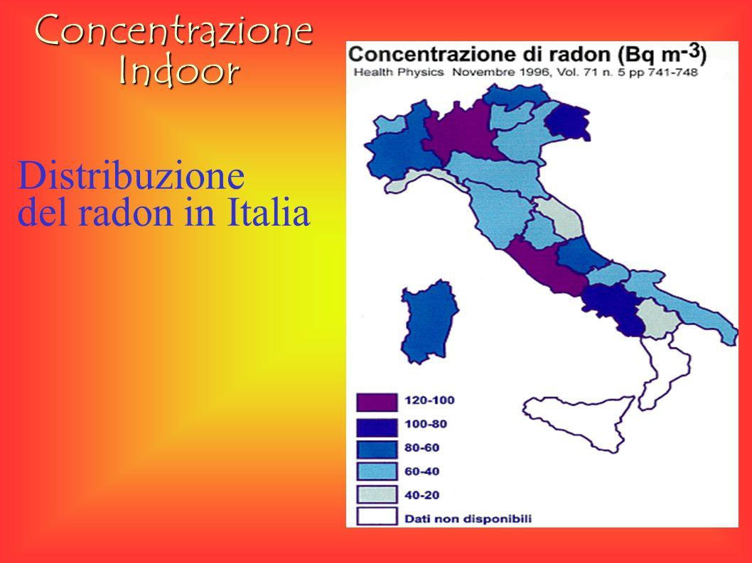 Distribuzione del radon in Italia ConcentrazioneIndoor