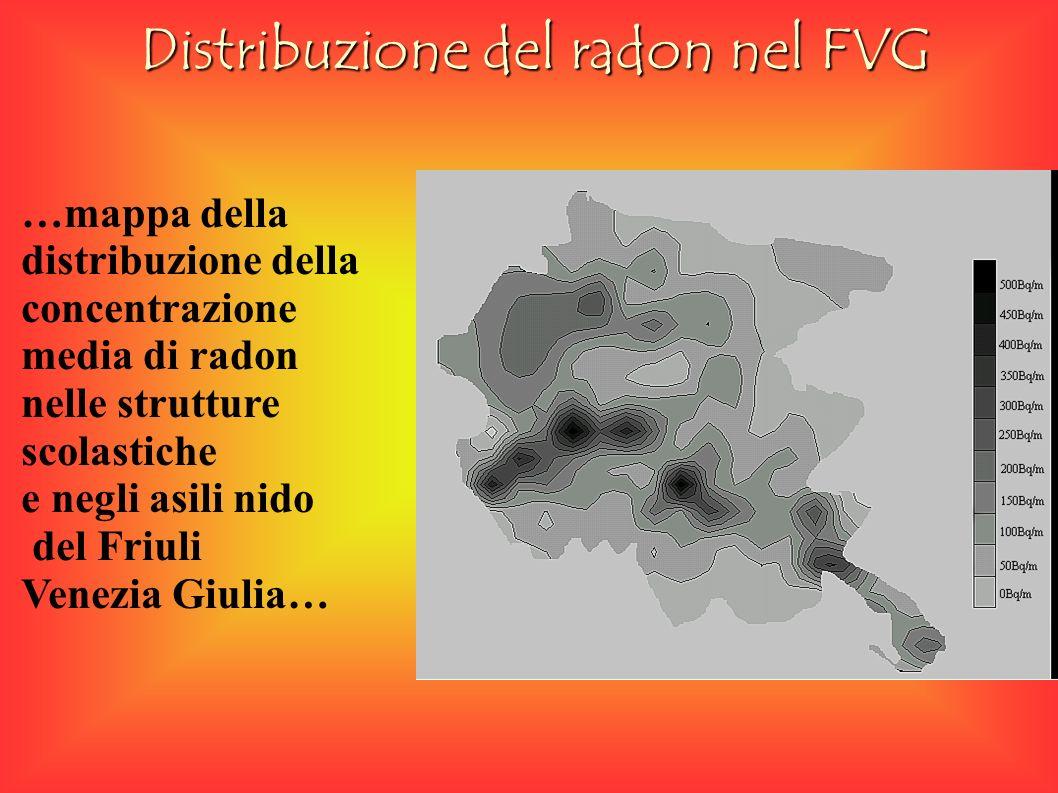 Distribuzione del radon nel FVG …mappa della distribuzione della concentrazione media di radon nelle strutture scolastiche e negli asili nido del Friuli Venezia Giulia…