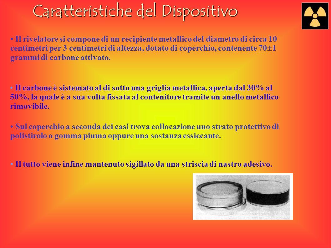 Caratteristiche del Dispositivo Il rivelatore si compone di un recipiente metallico del diametro di circa 10 centimetri per 3 centimetri di altezza, dotato di coperchio, contenente 70 1 grammi di carbone attivato.