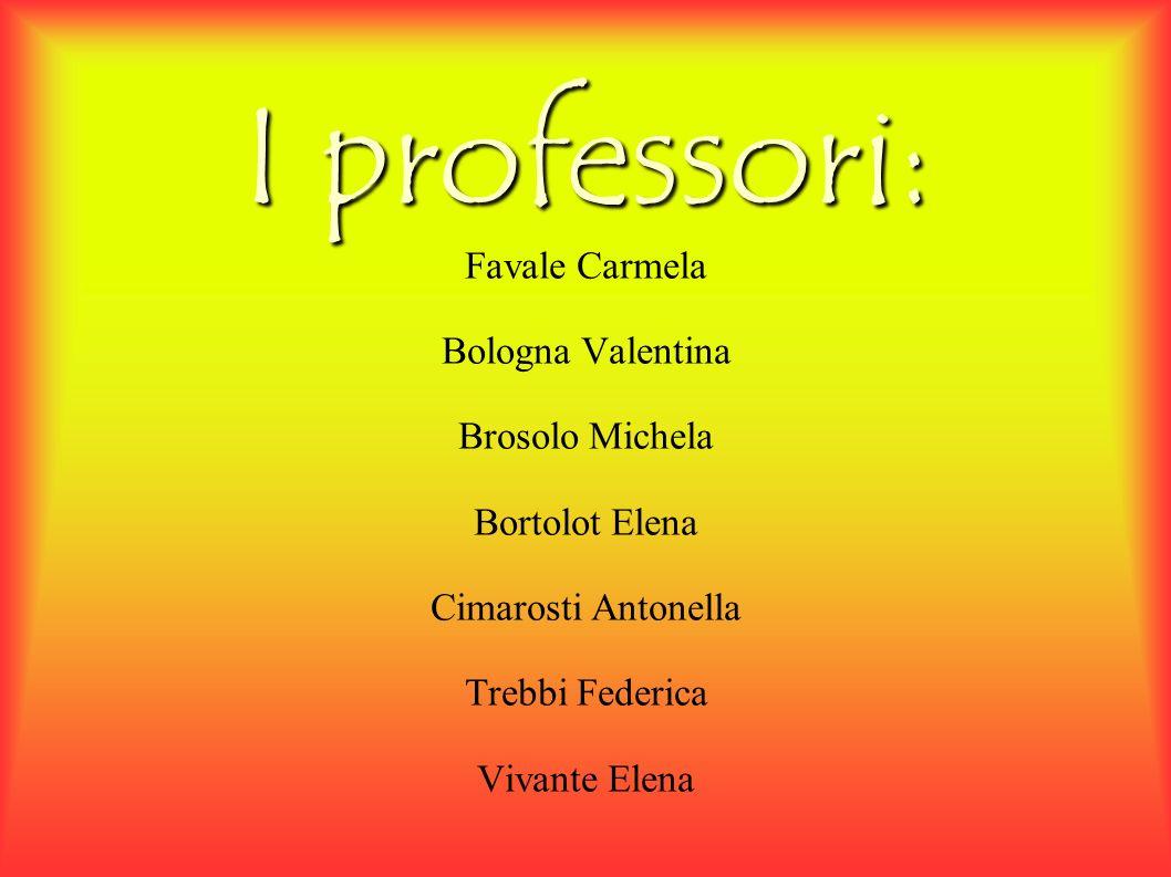 I professori: Favale Carmela Bologna Valentina Brosolo Michela Bortolot Elena Cimarosti Antonella Trebbi Federica Vivante Elena
