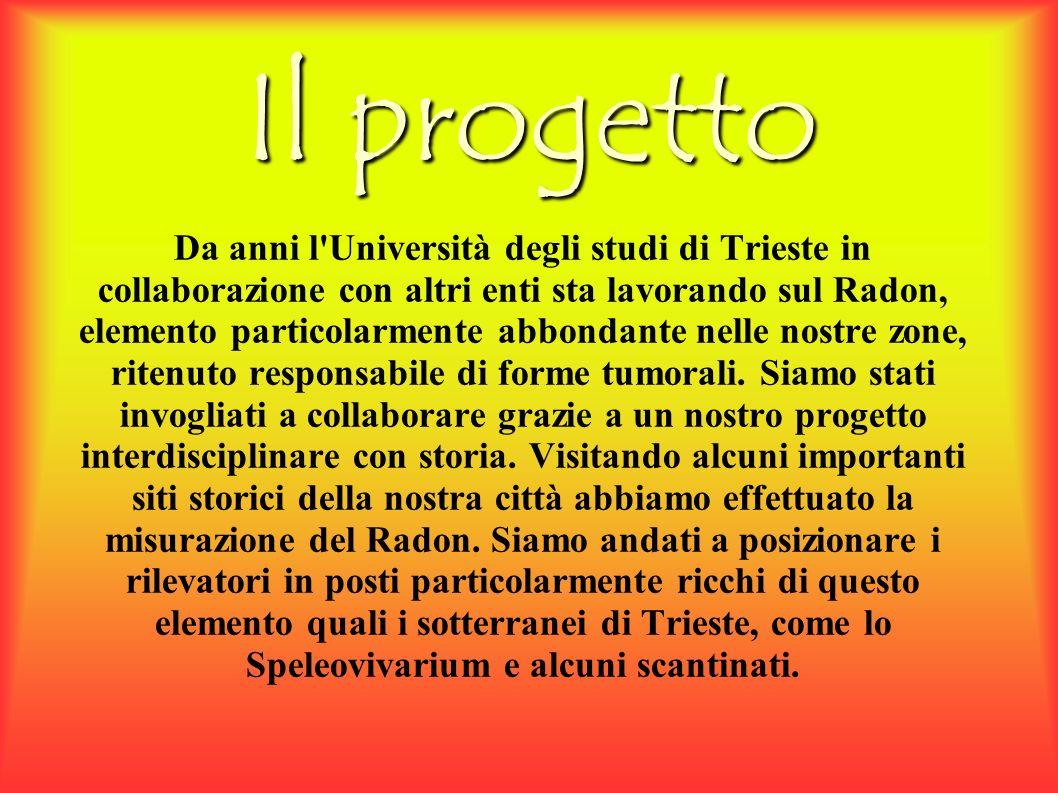 Il progetto Da anni l Università degli studi di Trieste in collaborazione con altri enti sta lavorando sul Radon, elemento particolarmente abbondante nelle nostre zone, ritenuto responsabile di forme tumorali.