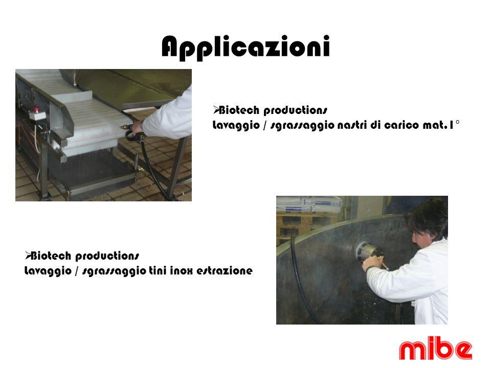 Applicazioni Biotech productions Lavaggio / sgrassaggio nastri di carico mat.1° Biotech productions Lavaggio / sgrassaggio tini inox estrazione