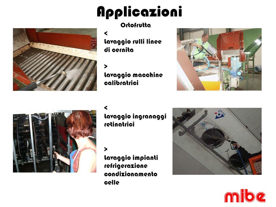 Applicazioni Ortofrutta < Lavaggio rulli linee di cernita > Lavaggio macchine calibratrici < Lavaggio ingranaggi retinatrici > Lavaggio impianti refrigerazione condizionamento celle