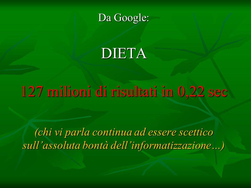 Da Google: DIETA 127 milioni di risultati in 0,22 sec (chi vi parla continua ad essere scettico sullassoluta bontà dellinformatizzazione…)