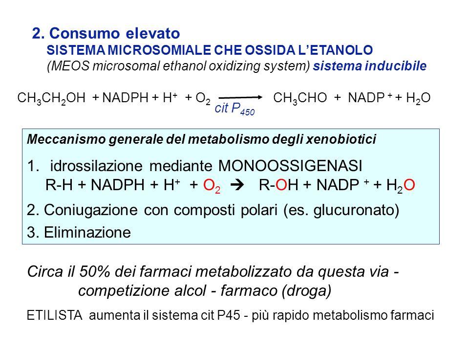 2. Consumo elevato SISTEMA MICROSOMIALE CHE OSSIDA LETANOLO (MEOS microsomal ethanol oxidizing system) sistema inducibile Meccanismo generale del meta