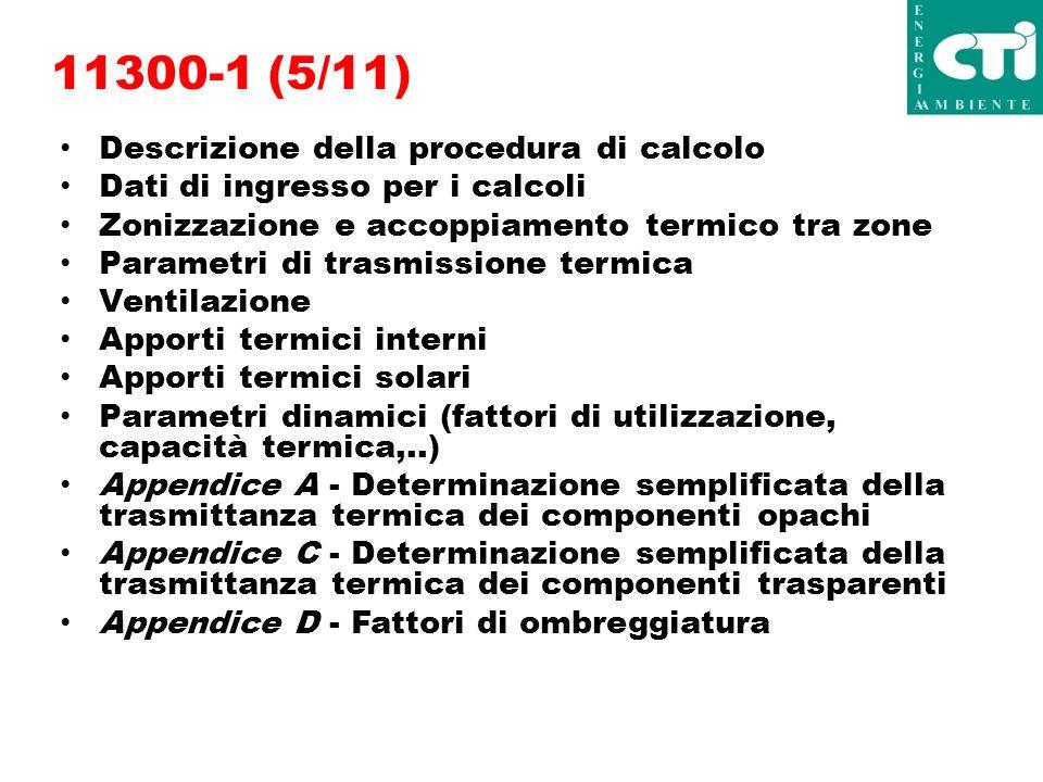 11300-1 (5/11) Descrizione della procedura di calcolo Dati di ingresso per i calcoli Zonizzazione e accoppiamento termico tra zone Parametri di trasmissione termica Ventilazione Apporti termici interni Apporti termici solari Parametri dinamici (fattori di utilizzazione, capacità termica,..) Appendice A - Determinazione semplificata della trasmittanza termica dei componenti opachi Appendice C - Determinazione semplificata della trasmittanza termica dei componenti trasparenti Appendice D - Fattori di ombreggiatura