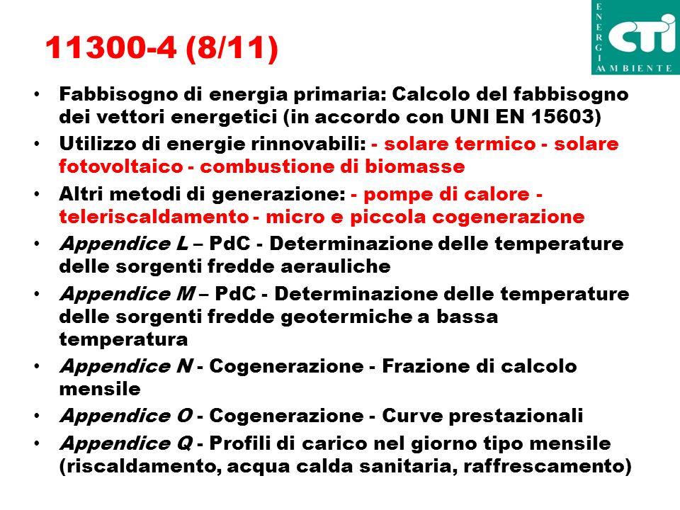 11300-4 (8/11) Fabbisogno di energia primaria: Calcolo del fabbisogno dei vettori energetici (in accordo con UNI EN 15603) Utilizzo di energie rinnovabili: - solare termico - solare fotovoltaico - combustione di biomasse Altri metodi di generazione: - pompe di calore - teleriscaldamento - micro e piccola cogenerazione Appendice L – PdC - Determinazione delle temperature delle sorgenti fredde aerauliche Appendice M – PdC - Determinazione delle temperature delle sorgenti fredde geotermiche a bassa temperatura Appendice N - Cogenerazione - Frazione di calcolo mensile Appendice O - Cogenerazione - Curve prestazionali Appendice Q - Profili di carico nel giorno tipo mensile (riscaldamento, acqua calda sanitaria, raffrescamento)