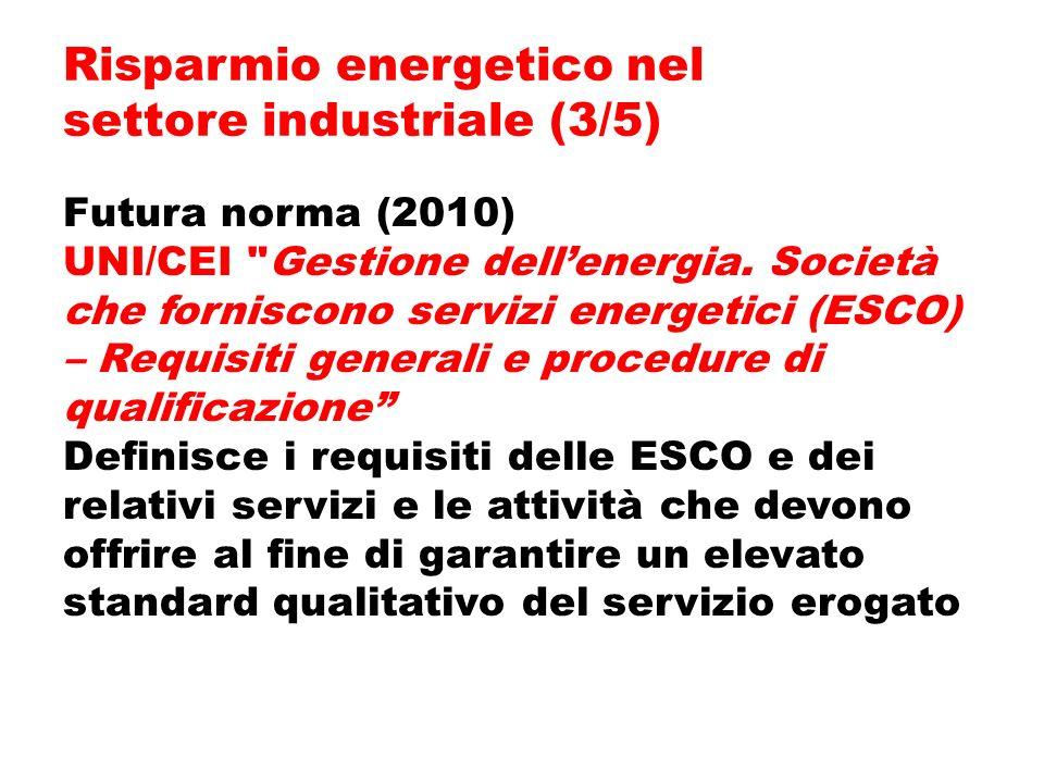 Futura norma (2010) UNI/CEI Gestione dellenergia.