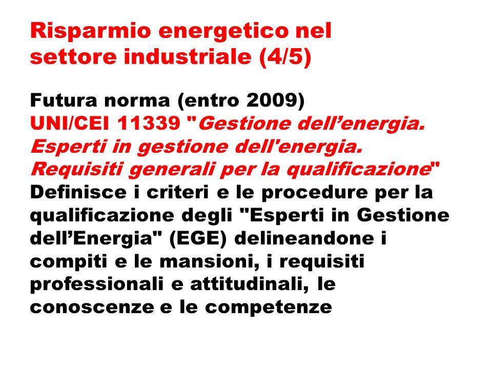 Futura norma (entro 2009) UNI/CEI 11339 Gestione dellenergia.