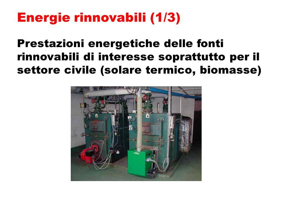 Prestazioni energetiche delle fonti rinnovabili di interesse soprattutto per il settore civile (solare termico, biomasse) Energie rinnovabili (1/3)