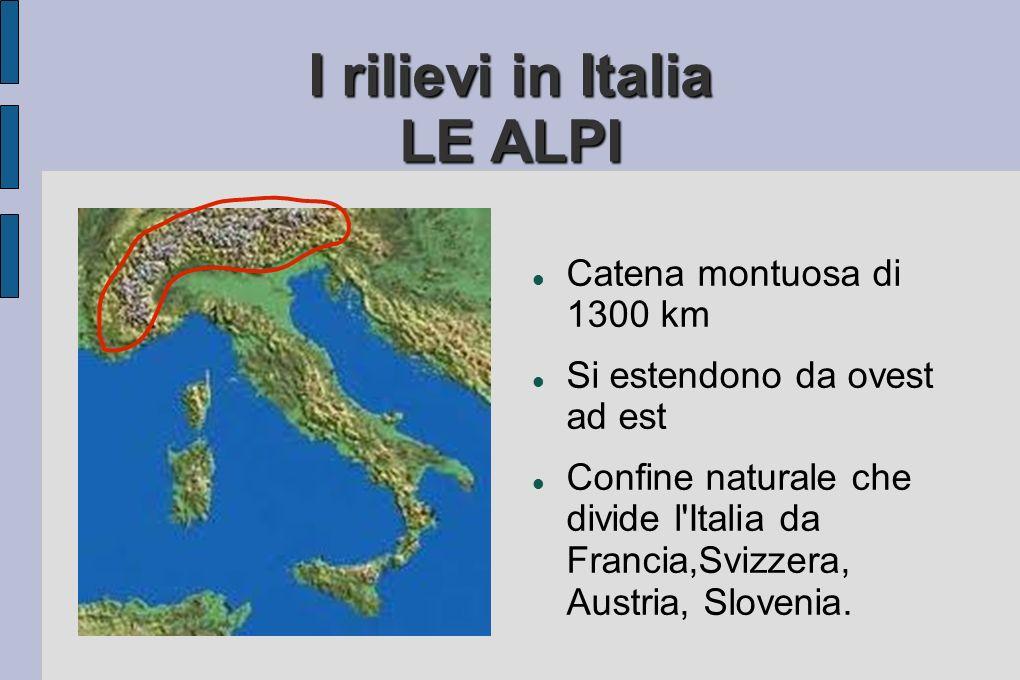 I rilievi in Italia LE ALPI Catena montuosa di 1300 km Si estendono da ovest ad est Confine naturale che divide l Italia da Francia,Svizzera, Austria, Slovenia.