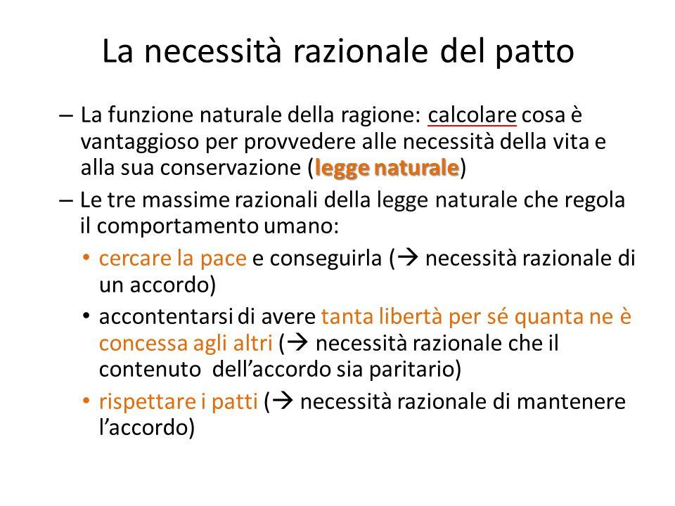 La necessità razionale del patto legge naturale – La funzione naturale della ragione: calcolare cosa è vantaggioso per provvedere alle necessità della