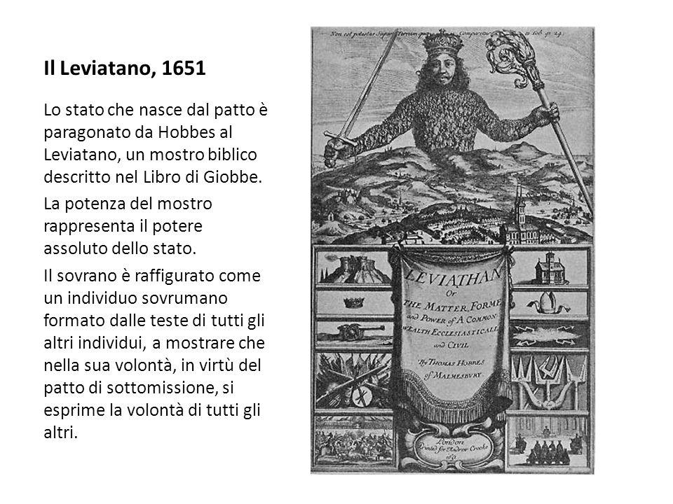 Il Leviatano, 1651 Lo stato che nasce dal patto è paragonato da Hobbes al Leviatano, un mostro biblico descritto nel Libro di Giobbe. La potenza del m