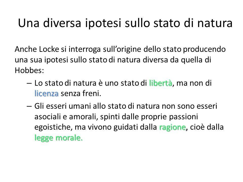 Una diversa ipotesi sullo stato di natura Anche Locke si interroga sullorigine dello stato producendo una sua ipotesi sullo stato di natura diversa da