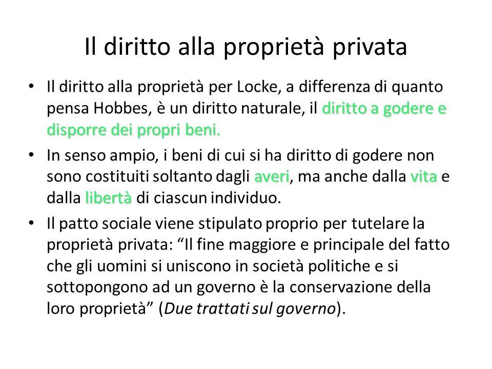 Il diritto alla proprietà privata diritto a godere e disporre dei propri beni. Il diritto alla proprietà per Locke, a differenza di quanto pensa Hobbe