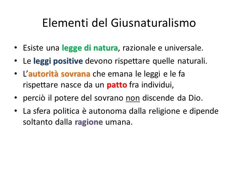 Elementi del Giusnaturalismo legge di natura Esiste una legge di natura, razionale e universale. leggi positive Le leggi positive devono rispettare qu